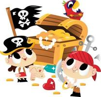 Super Cute Pirate Kids Treasure Chest vector