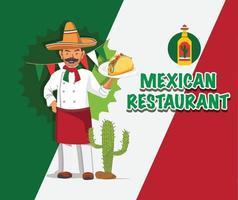 diseño de restaurante mexicano vector