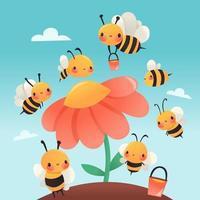 Super Cute Cartoon Honey Bees Garden vector
