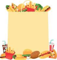 bolsa de papel de comida rápida súper divertida copyspace vector
