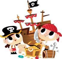 super lindo pirata niños búsqueda del tesoro vector
