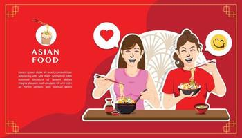 Two happy women eating noodles concept vector