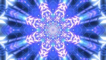 Blue, pink, and white 3D tunnel kaleidoscope design illustration for background or wallpaper