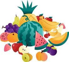 grupo de divertidas frutas de verano
