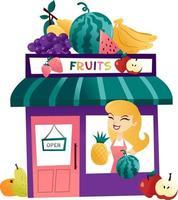 tienda de frutas de dibujos animados con tendero en la ventana vector