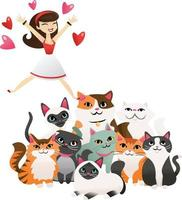 mujer de dibujos animados saltando a un grupo de lindos gatitos vector