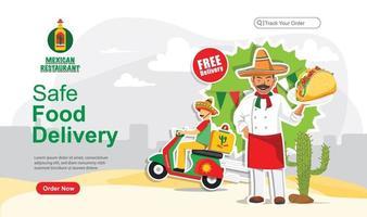 Safe mexican food delivery order design vector