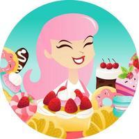 Cartoon Woman Sweets Desserts Round Frame