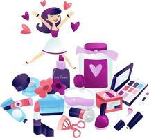 Cartoon Woman Jumping At A Pile of Makeup vector