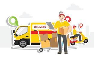 Online delivery service concept, flat design  Vector illustration