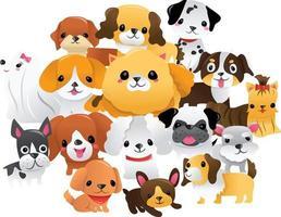 grupo de cachorros de dibujos animados super lindo vector