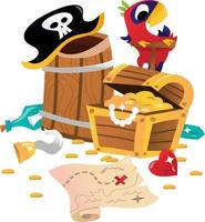 Super Cute Pirate Treasure Chest Map vector