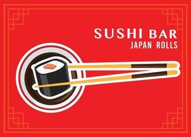 chopsticks with sushi roll