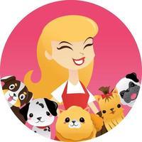 Cartoon Woman Cute Puppies Round Frame