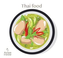 Thai food Green curry with chicken,  Vector flat illustration