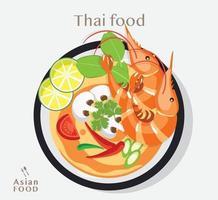 Thai food Tom yum kung dish vector
