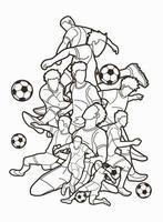 grupo de jugadores de fútbol vector