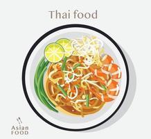 Thai food Pad thai , Vector Illustration