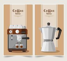 Coffee espresso maker banner set vector