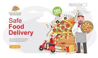 Safe food delivery order landing page vector