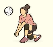 jugadora de voleibol vector