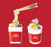 Instant noodle in cup and packaging vector