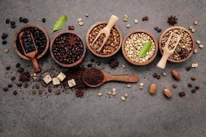 vista superior de café y especias foto
