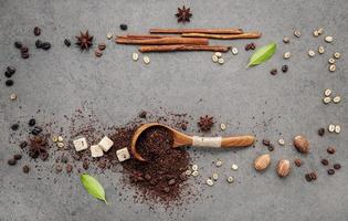 Frame of coffee and spices