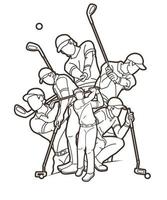 Golf Players Action Outline Collage