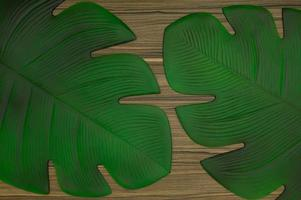 Patterned leaves on the table photo