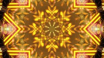Red, yellow, and orange 3D kaleidoscope design illustration for background or wallpaper