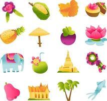 Super Cute Thailand Culture Icons Set vector