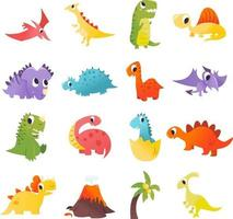Super Cute Cartoon Dinosaurs Set vector