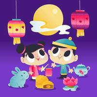 Super Cute Mid Autumn Festival Kids And Lantern Night