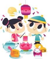 Super Cute Mid Autumn Festival Kids Party vector