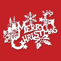 cartel vintage adornado feliz navidad decoraciones papel cortado vector