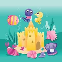 Super Cute Underwater Sea Creatures Sand Castle vector
