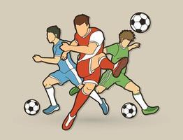 acción de jugadores de fútbol hombres vector