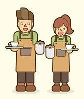 caricatura, café, servidor, barista, pareja vector