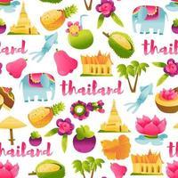 Super Cute Thailand Culture Seamless Pattern Background vector