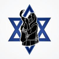 un hombre tocando el shofar en la estrella de israel vector