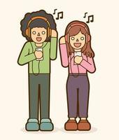 Cartoon Teenagers Listening  to Music vector