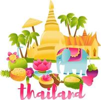 Super Cute Thailand Culture Scene vector