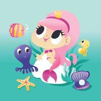 Super Cute Mermaid Sitting Underwater With Sea Creatures vector