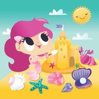 Super Cute Mermaid Playing Sand Castle By The Beach vector