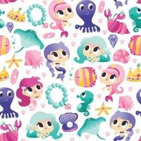 Super Cute Mermaids Sea Creatures Seamless Pattern Background vector