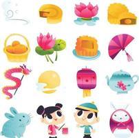 Super Cute Mid Autumn Festival Set vector