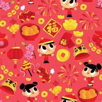 Super Cute Cartoon Happy Chinese New Year Seamless Pattern Background vector