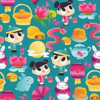 Super Cute Mid Autumn Festival Seamless Pattern Background