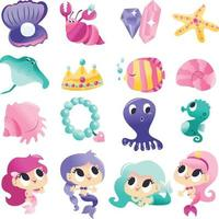 Super Cute Mermaids Sea Creatures Set vector